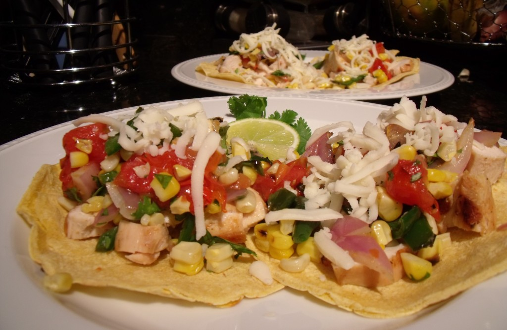 Chicken Tostadas with Grilled Corn, Tomatoes and Poblanos » Recipe ...